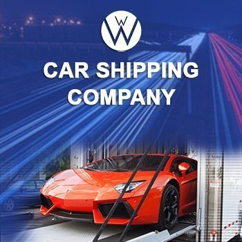 Enclosed Carrier with one beautiful orange vehicle inside and the We Will Transport It logo