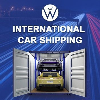 International Auto Shipping and the We Will Transport It logo, 2 automobiles inside an enclosed carrier, one on top of the other one